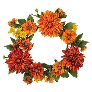 Northlight 22-in Orange Artificial Floral Wreath Plant