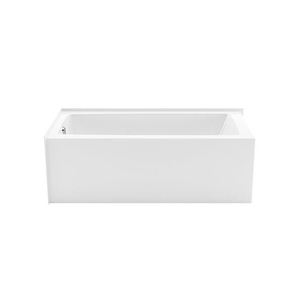 Baignoire alcôve rectangulaire en acrylique Nomad Corner by Maax de Maax avec drain à gauche, 30 po x 59,88 po, blanc