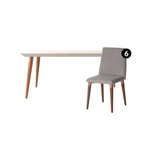 Ensemble de salle à manger Utopia blanc cassé et gris avec table rectangulaire de Manhattan Comfort, 7 pièces