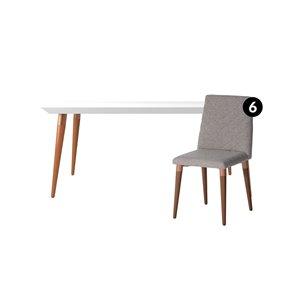 Ensemble de salle à manger Utopia blanc brillant et gris avec table rectangulaire de Manhattan Comfort, 7 pièces