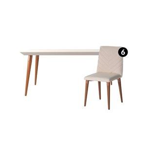 Ensemble de salle à manger Utopia blanc cassé et beige avec table rectangulaire de Manhattan Comfort, 7 pièces