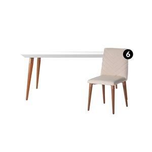 Ensemble de salle à manger Utopia blanc brillant et beige avec table rectangulaire de Manhattan Comfort, 7 pièces