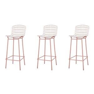 Tabouret de bar Madeline en or rose et blanc 27 po à 35 po de Manhattan Comfort, ens. de 3
