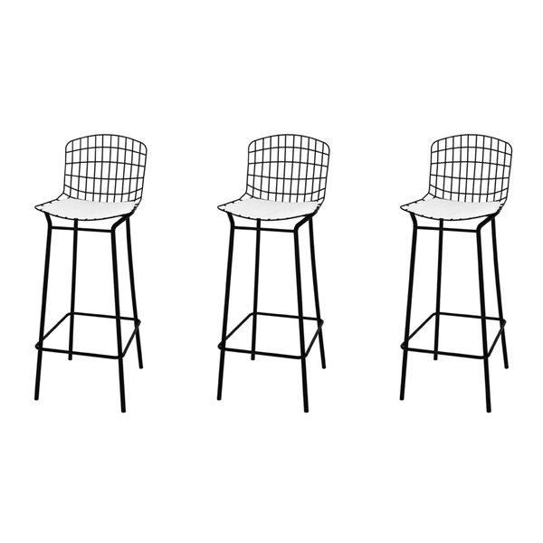 Tabouret de bar Madeline en noir et blanc 27 po à 35 po de Manhattan Comfort, ens. de 3