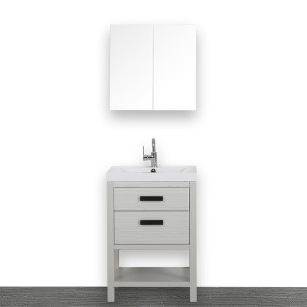 Meuble-lavabo simple de 24 po, autoportant, avec comptoir blanc lustré, de Streamline (1 miroir compris)