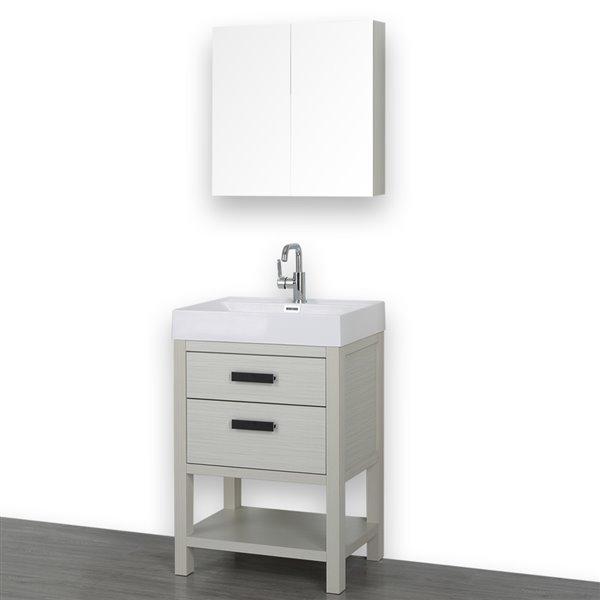 Meuble-lavabo simple autoportant gris cendre avec comptoir blanc lustré, 24 po, de Streamline (1 miroir compris)