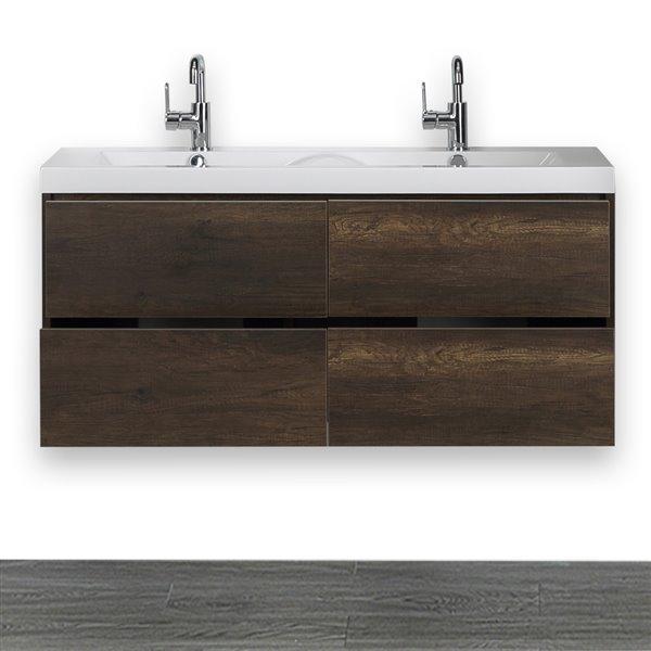 Meuble-lavabo mural simple, 48 po, comptoir blanc lustré, de Streamline