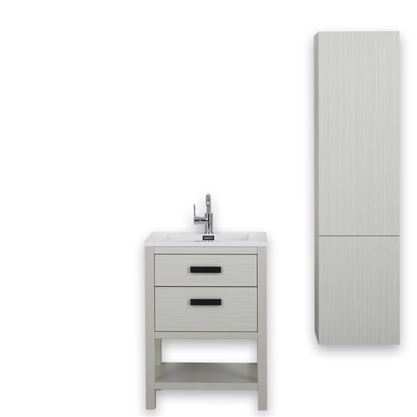 Meuble-lavabo simple autoportant gris cendre de 24 po avec comptoir blanc lustré, de Streamline (1 lingerie comprise)