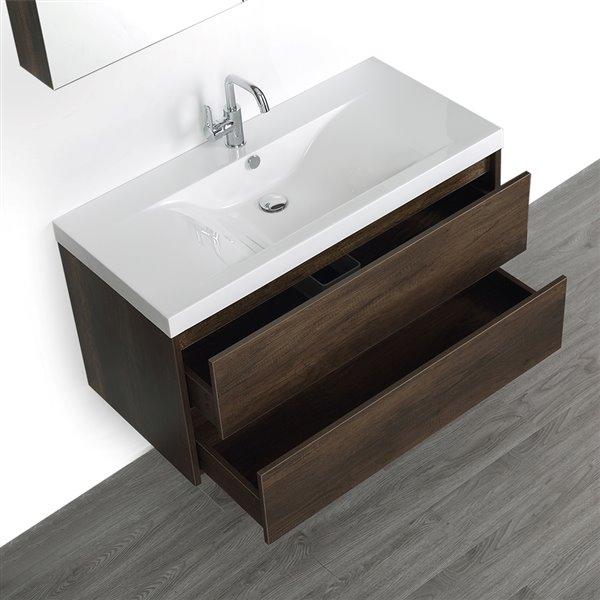 Meuble-lavabo mural simple brun, 40 po, comptoir blanc lustré, de Streamline (1 miroir compris)