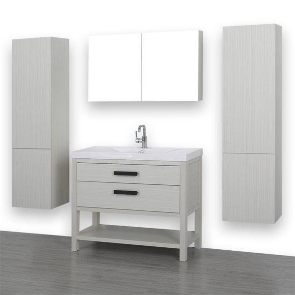 Meuble-lavabo simple autoportant gris cendre avec comptoir blanc lustré, 40 po, de Streamline (1 miroir et 2 lingeries compris)