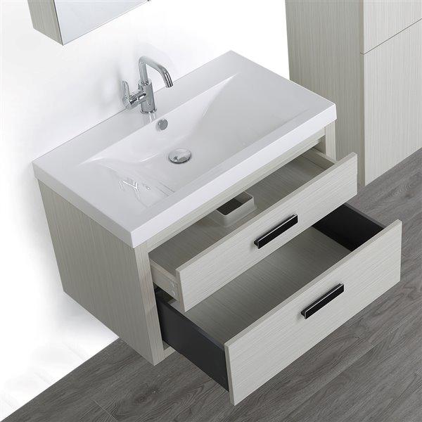 Meuble-lavabo simple de 32 po avec comptoir blanc lustré, de Streamline (1 miroir et 1 lingerie compris)