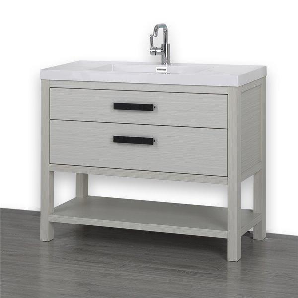 Meuble-lavabo simple gris cendre de 40 po, autoportant, avec comptoir blanc lustré, de Streamline