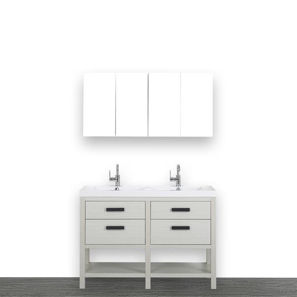 Meuble-lavabo simple autoportant gris cendre, avec comptoir blanc lustré, 48 po, de Streamline (2 miroirs compris)