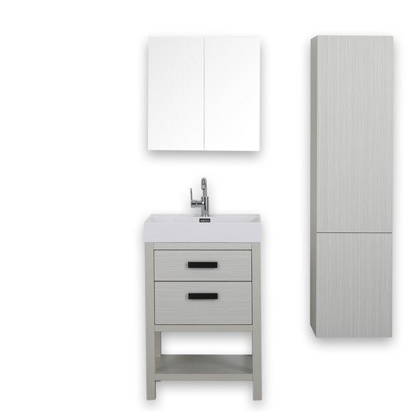 Meuble-lavabo simple autoportant gris cendre avec comptoir blanc lustré, 24 po, de Streamline (1 miroir et 1 lingerie compris)