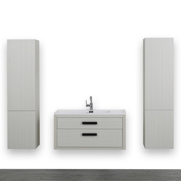 Meuble-lavabo simple gris cendre, avec comptoir blanc lustré, 40 po, de Streamline (2 lingeries comprises)