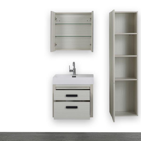 Meuble-lavabo simple gris cendre, avec comptoir blanc lustré, 24 po, de Streamline (1 miroir et 1 lingerie compris)