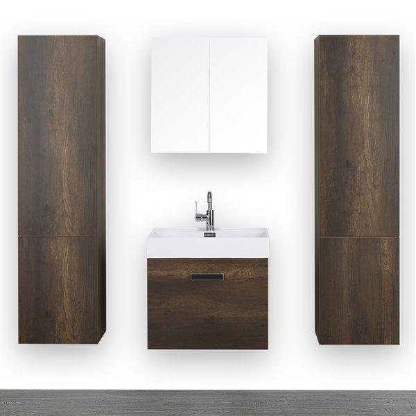 Meuble-lavabo simple de 24 po, brun, avec comptoir blanc lustré, de Streamline (1 miroir et 2 lingeries compris)