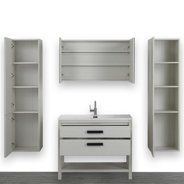 Meuble-lavabo simple autoportant gris cendre,40 po avec comptoir blanc lustré, de Streamline (1 lingerie et 1 miroir compris)