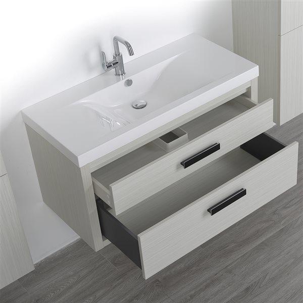 Meuble-lavabo simple de 40 po avec comptoir blanc lustré, de Streamline (2 lingeries comprises)