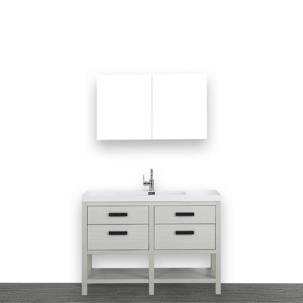 Meuble-lavabo simple gris cendre autoportant avec comptoir blanc lustré, 48 po, de Streamline (1 miroir compris)