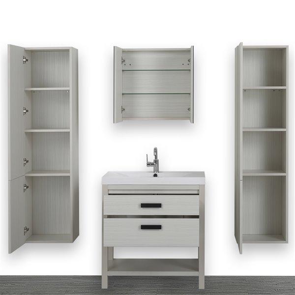 Meuble-lavabo simple autoportant gris cendre, avec comptoir blanc lustré, 32 po, de Streamline (1 miroir compris)