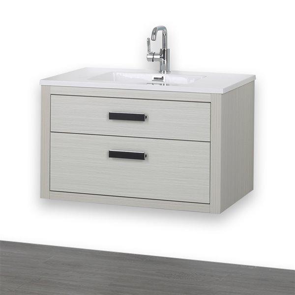 Meuble-lavabo simple gris cendre, avec comptoir blanc lustré, 32 po, de Streamline
