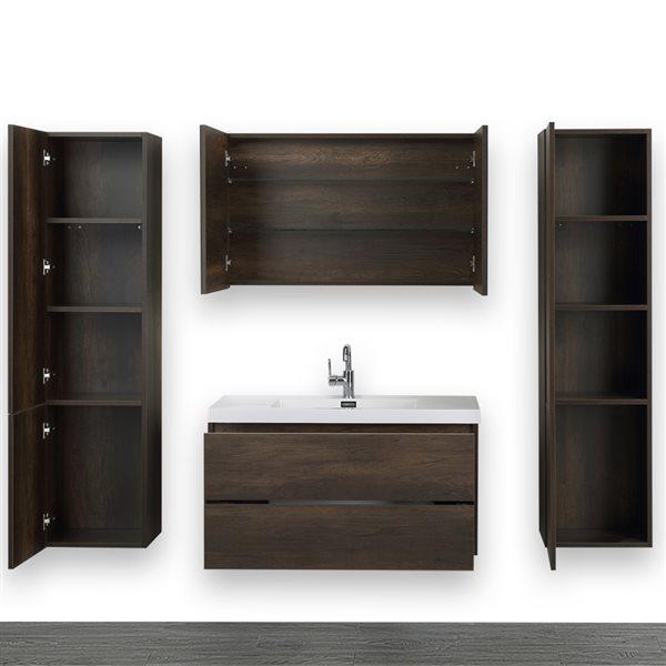 Meuble-lavabo simple, brun, mural, 40 po, comptoir blanc lustré, de Streamline (1 miroir et 2 lingeries compris)