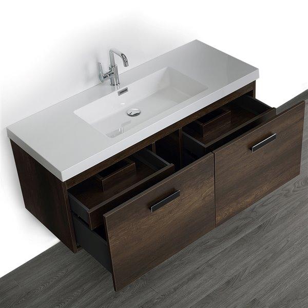 Meuble-lavabo simple brun avec comptoir blanc lustré, 48 po, de Streamline