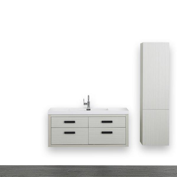 Meuble-lavabo simple gris cendre avec comptoir blanc lustré, 48 po, de Streamline (1 lingerie comprise)