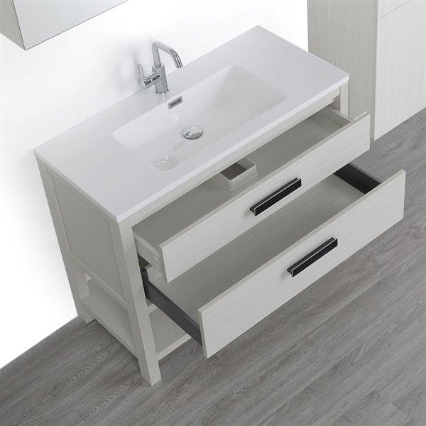Meuble-lavabo simple autoportant gris cendre,40 po avec comptoir blanc lustré, de Streamline (1 miroir et 1 lingerie compris)