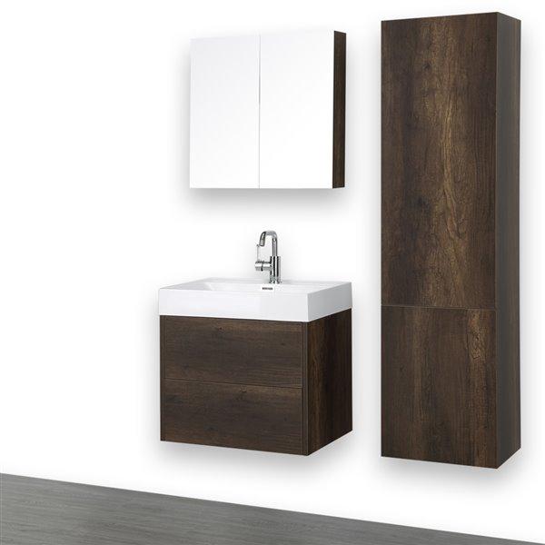 Meuble-lavabo simple brun, 24 po, mural, comptoir blanc lustré, de Streamline (1 miroir et 1 lingerie compris)