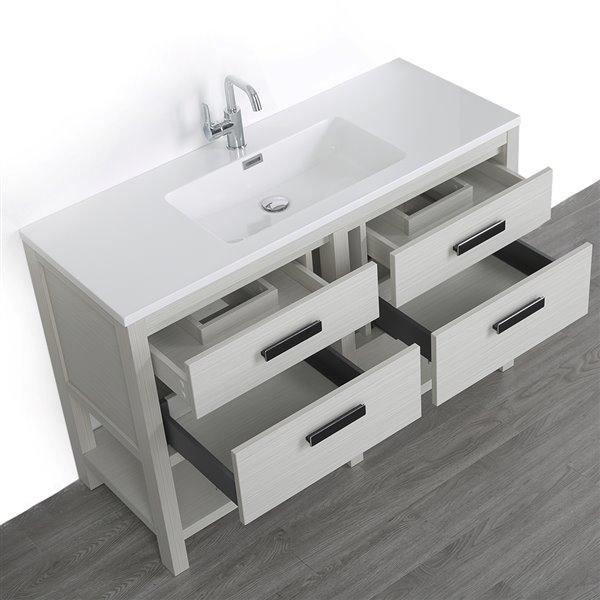 Meuble-lavabo simple gris cendre autoportant de 48 po avec comptoir blanc lustré, de Streamline