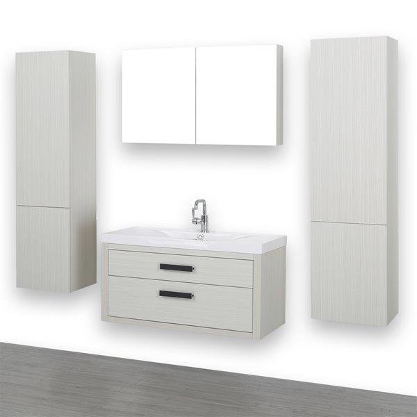 Meuble-lavabo simple de 40 po avec comptoir blanc lustré, de Streamline (1 miroir compris et 2 lingeries compris)