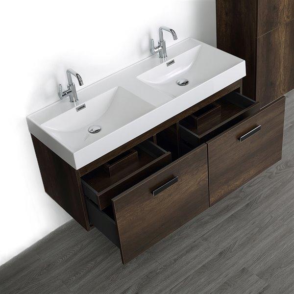Meuble-lavabo double de 48 po, brun, avec comptoir blanc lustré, de Streamline (1 lingerie comprise)