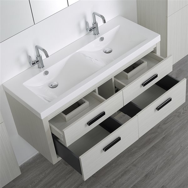 Meuble-lavabo simple de 48 po avec comptoir blanc lustré, de Streamline (2 miroirs et 2 lingeries compris)