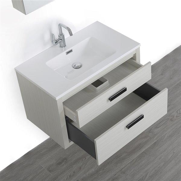 Meuble-lavabo simple gris cendre, avec comptoir blanc lustré, 32 po, de Streamline (1 miroir compris)