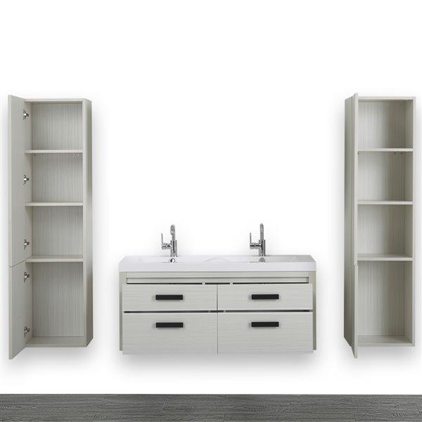 Meuble-lavabo simple de 48 po avec comptoir blanc lustré, de Streamline (2 lingeries comprises)