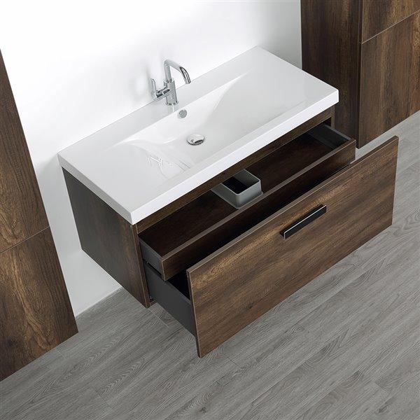 Meuble-lavabo simple, brun, mural, comptoir blanc lustré, 40 po, de Streamline (2 lingeries comprises)