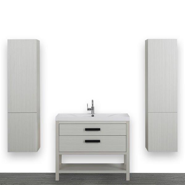 Meuble-lavabo simple autoportant gris cendre, avec comptoir blanc lustré, 40 po, de Streamline (2 lingeries comprises)