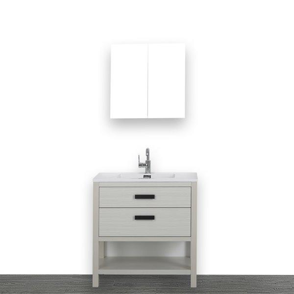 Meuble-lavabo simple gris cendre autoportant de 32 po avec comptoir blanc lustré, de Streamline (1 miroir compris)