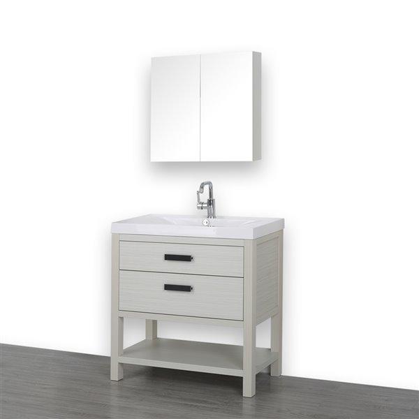 Meuble-lavabo simple autoportant gris cendre de 32 po, avec comptoir blanc lustré, de Streamline (1 miroir compris)