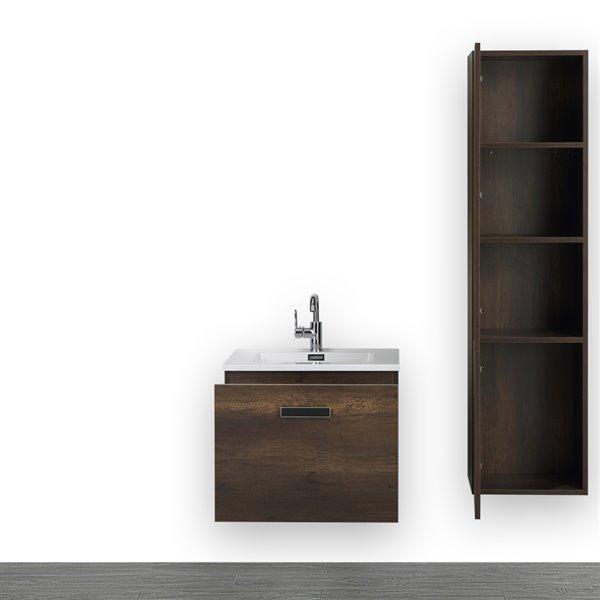 Meuble-lavabo simple de 24 po brun, comptoir blanc lustré, de Streamline (1 lingerie comprise)