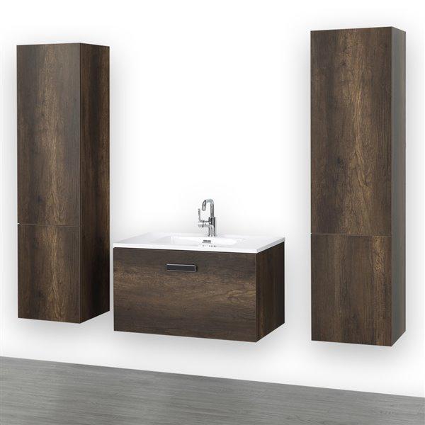 Meuble-lavabo simple brun de 32 po avec comptoir blanc lustré, de Streamline (1 meubles de côté compris)