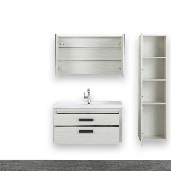 Meuble-lavabo simple de 40 po avec comptoir blanc lustré, de Streamline (1 miroir et 1 lingerie compris)