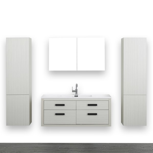 Meuble-lavabo simple gris cendre, avec comptoir blanc lustré, 48 po, de Streamline (1 miroir et 2 lingeries compris)