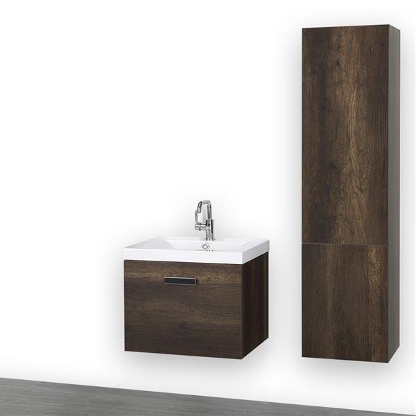 Meuble-lavabo simple brun de 24 po, mural, comptoir blanc lustré, de Streamline (1 lingerie comprise)