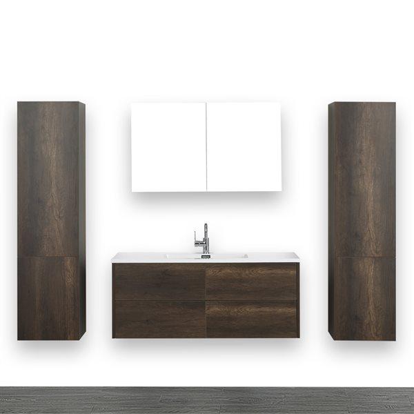 Meuble-lavabo simple brun de 48 po avec comptoir blanc lustré, de Streamline (1 miroir et 2 lingeries comprises)