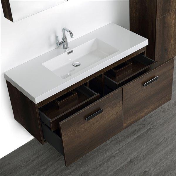 Meuble-lavabo simple, brun, comptoir blanc lustré, 48 po, de Streamline (1 miroir et 1 lingerie compris)