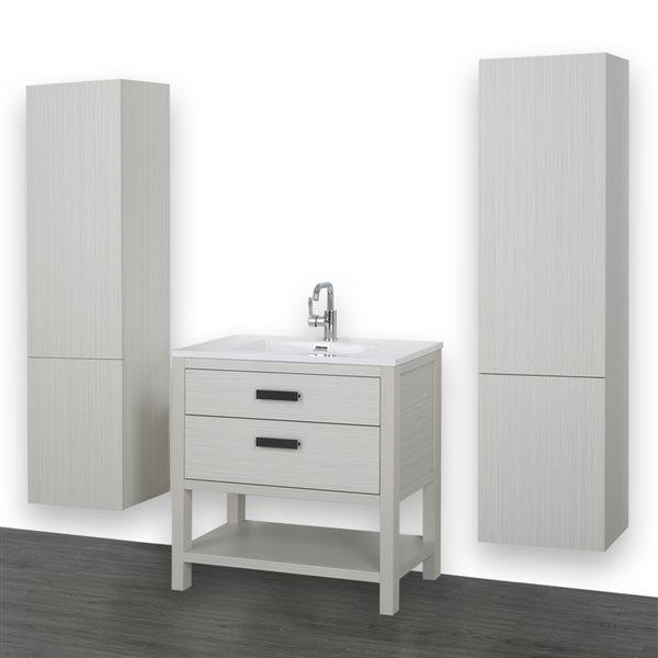 Meuble-lavabo simple gris cendre autoportant de320po avec comptoir blanc lustré, de Streamline (2 lingeries comprises)
