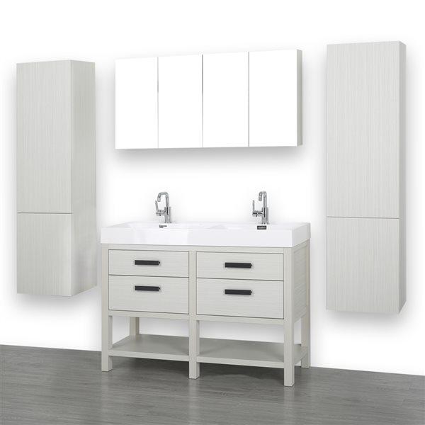 Meuble-lavabo double autoportant gris cendre, comptoir blanc lustré, 48 po, de Streamline (2 miroirs & 2 lingeries comprises)